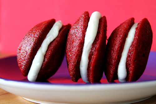 Red Velvet Mini Whoopie Pies with Coconut Butter Cream Filling – A ...
